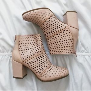 NWOB Rampage Pink Perforated Laser Cut Ankle Boots